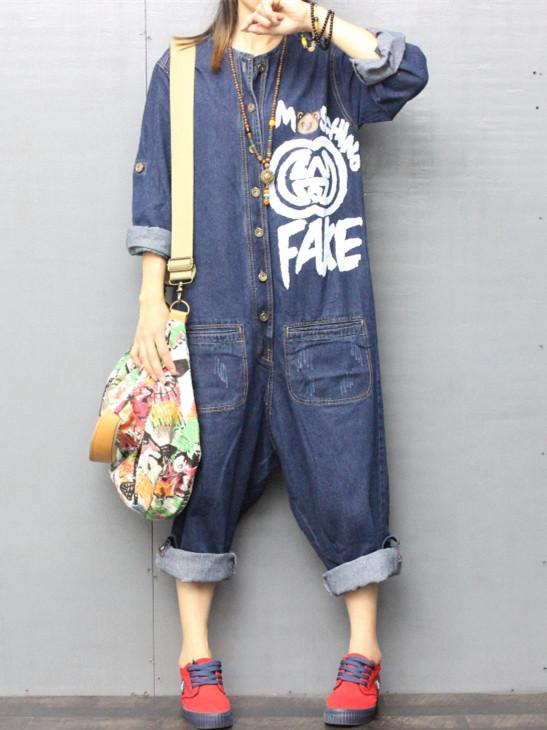 Women Printed Loose Jumpsuits