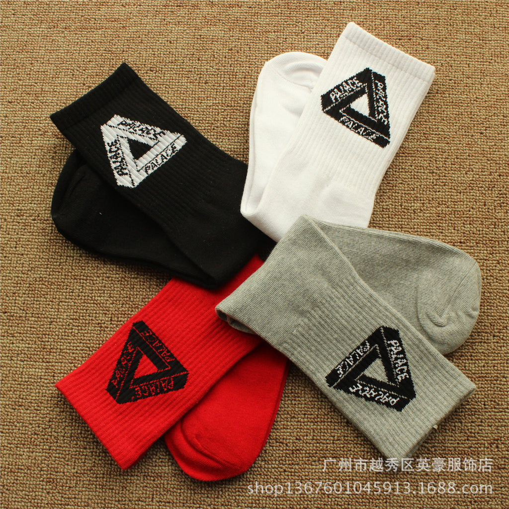 PALACE Skateboard Hip Hop Casual Men and Women Alphabet Socks Cotton Socks