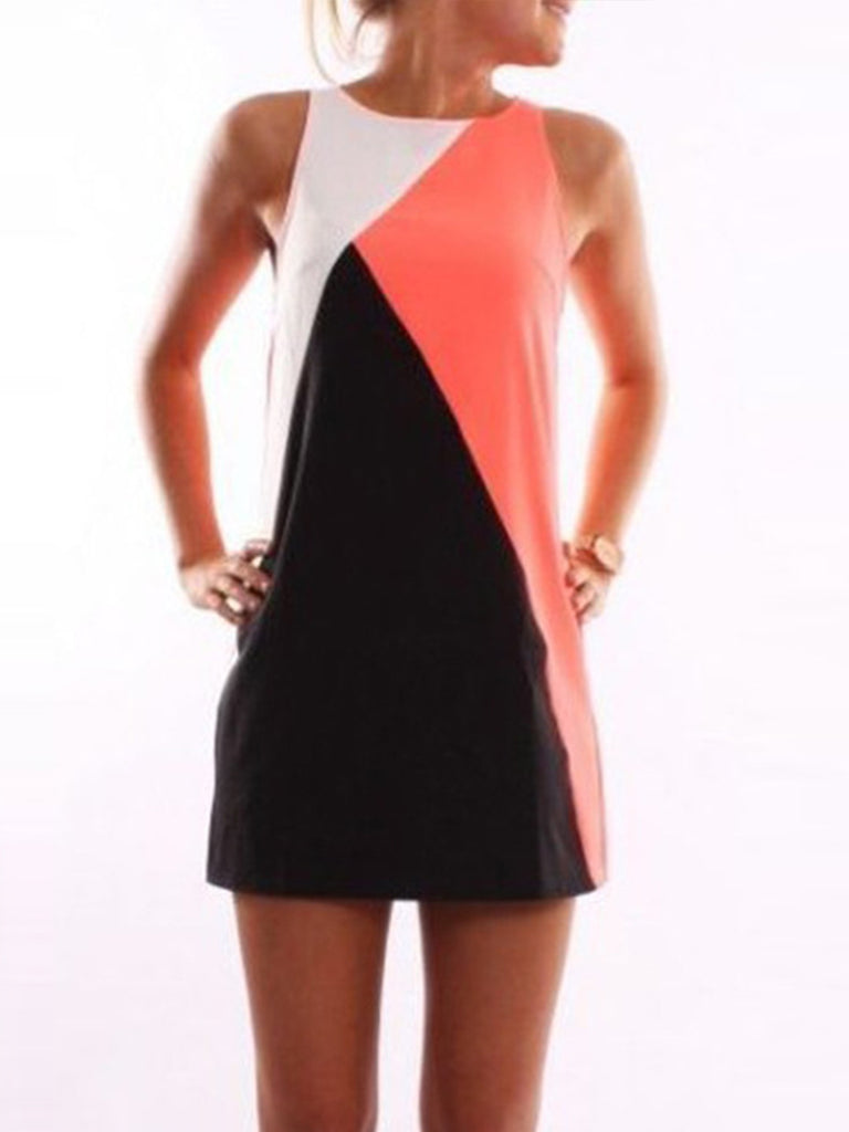 Women's Fashion Hit Color Geometric Splice Sleeveless Dress