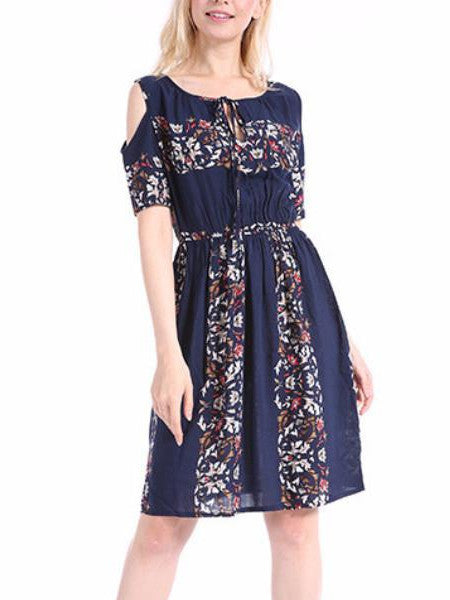 Fashion Printing Strapless Waist Dress