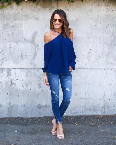 Sexy Women Halter Long Sleeve Chiffon T Shirt Off Shoulder Tops Size XL Blue