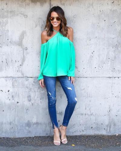 Sexy Women Halter Long Sleeve Chiffon T Shirt Off Shoulder Tops Size XL Green