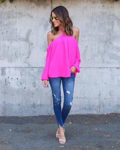 Sexy Women Halter Long Sleeve Chiffon T Shirt Off Shoulder Tops Blue