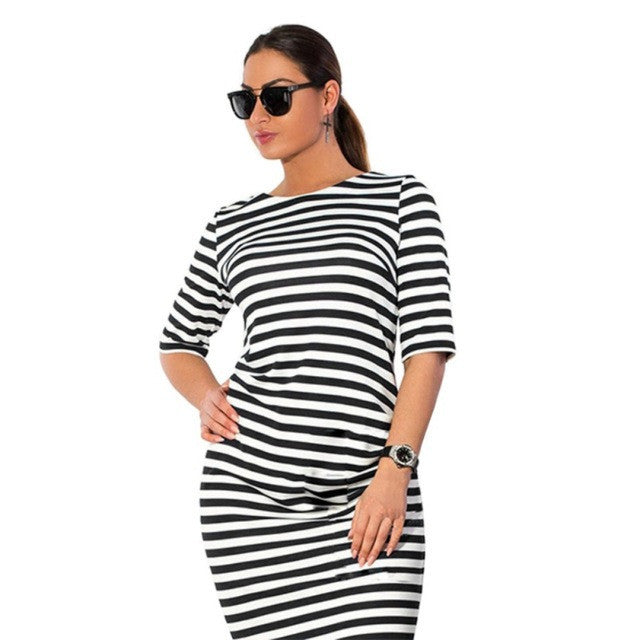 Kissvivi Round Neck Zebra Striped Dress