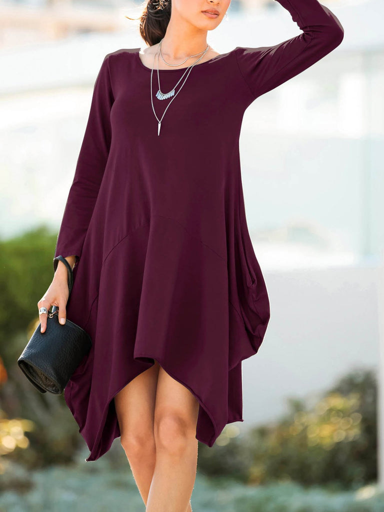 Irregular Casual Dress Solid Color Round Neck Long Sleeve Tunic Tshirt Dress with Pockets Light Blue