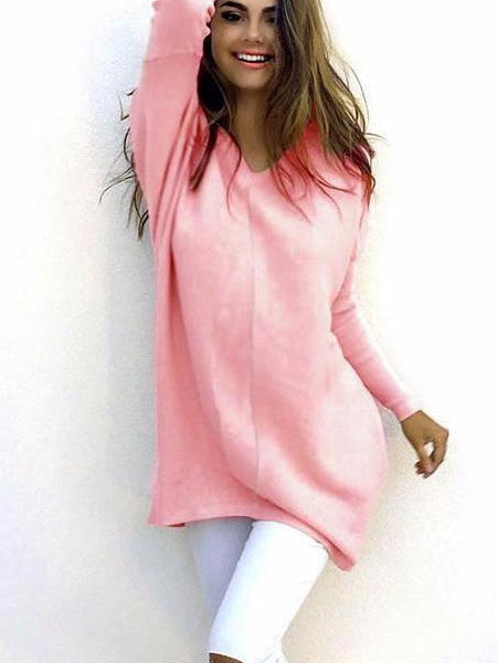 Women Cotton Tunic V Neck Casual  Sweatshirt Tops