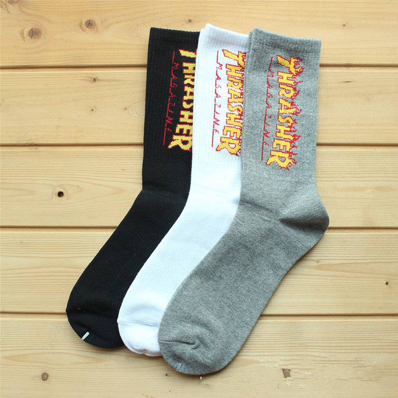 THRASHER UnisexHemp Harajuku Casual Men and Women Alphabet Socks Cotton Socks