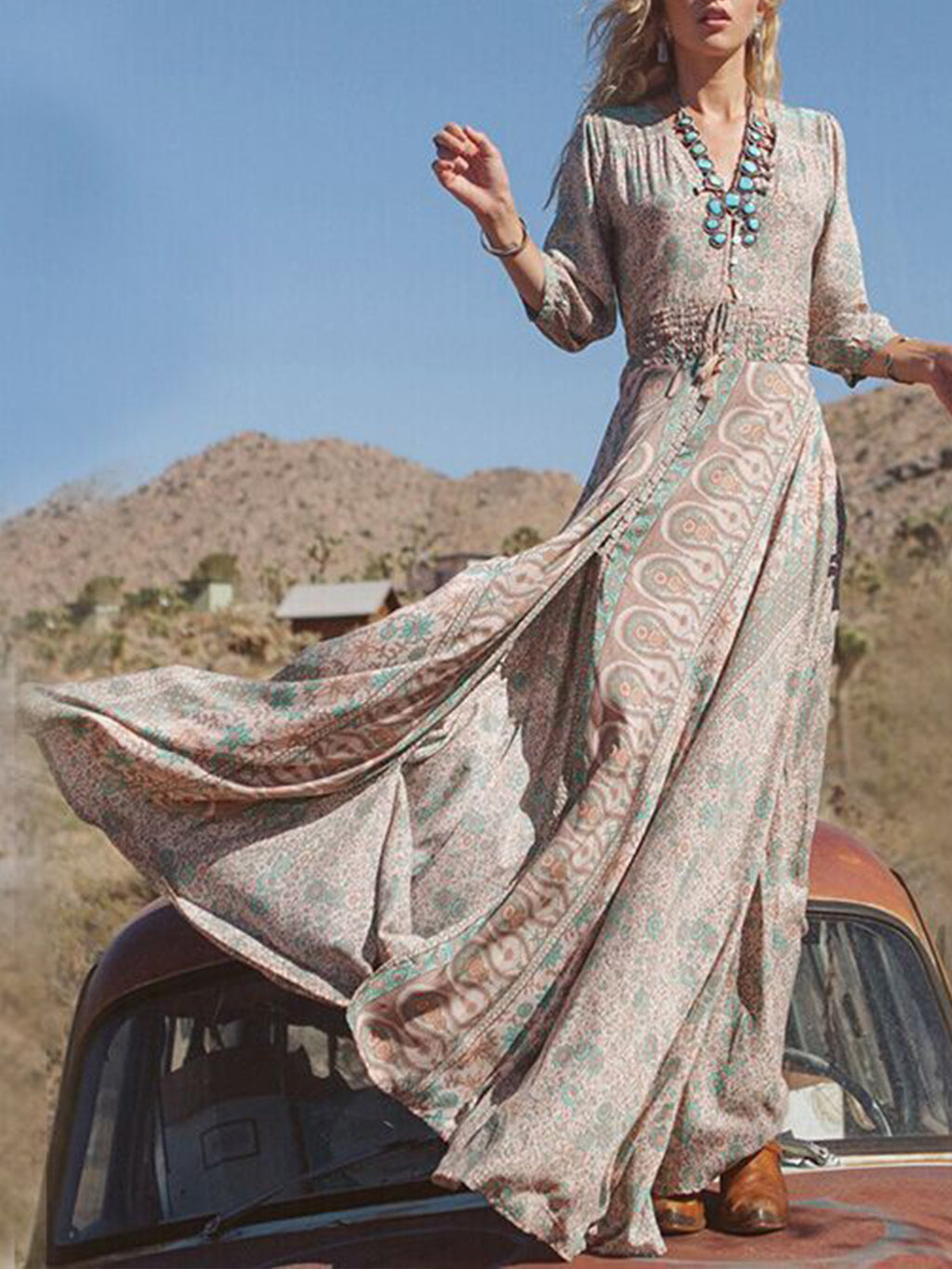 Womens Bohemian Floral Printed Wrap Long Sleeve Maxi Dress