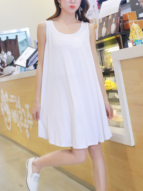 Sleeveless Vest Mini Dress White