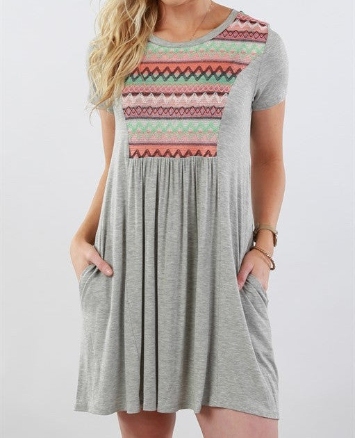 Women Summer Loose Printing Beach Dress  Gray Dress S-5XL