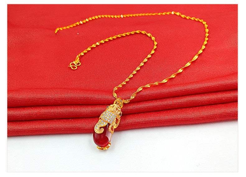 24K Gold Plated Necklace with Pendant Brave Troops,wealth,money