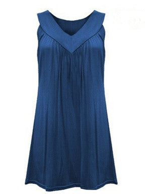 Woman V neck Sleeveless Pleated Leisure Tops