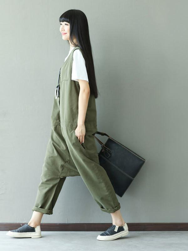 Women Solid Vintage Denim Jumpsuits Army Green