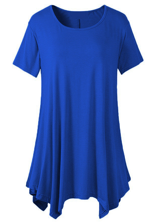 Women Short Sleeve Swing Tunic Tops Light Blue