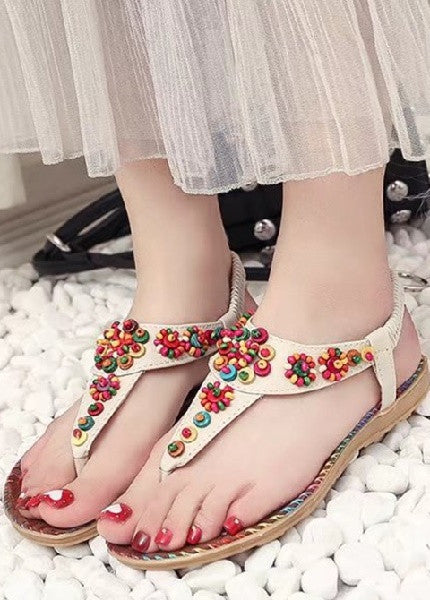 Women Boho Flat Shoes Summer Women Sandals SIZE US4-US9 Yellow