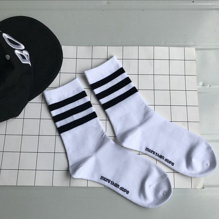 MORE THAN DOPE Striped Hip Hop Casual Men and Women Alphabet Cotton Socks