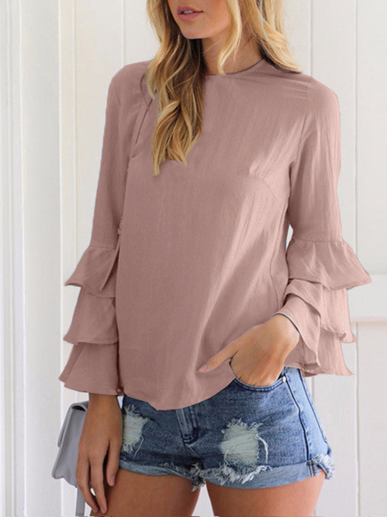 Women Chiffon Folding Sleeve Solid Blouse tops
