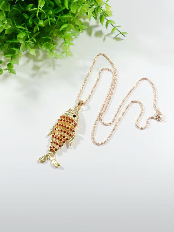 Gold Crystal Small Fish Necklace Sweater Chain