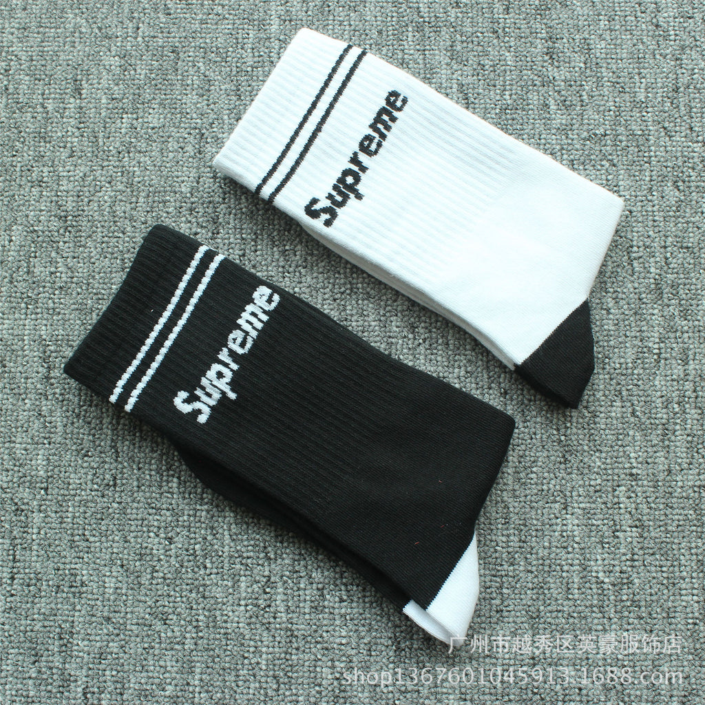 SUPREME Skateboard Hip Hop Casual Men and Women Alphabet Socks Cotton Socks