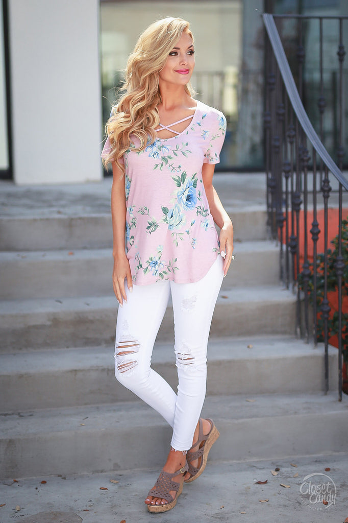 Womens Summer Floral Print V Neck Lace Up Short Sleeve Blouse  Tops