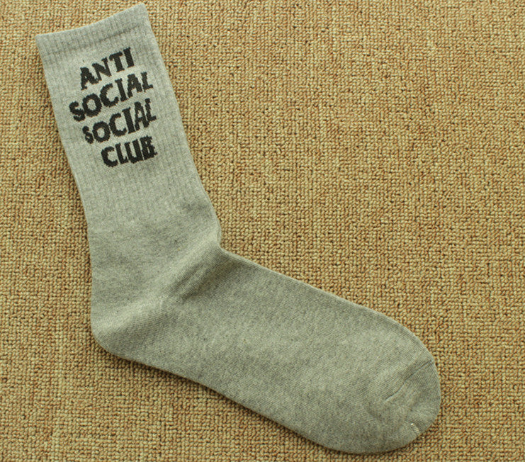 ANTI SOCIAL SOCIAL CLUB Casual Men and Women English Alphabet Socks Cotton Socks