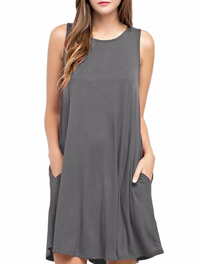 Woman sleeveless pocket vest Wine Black dress