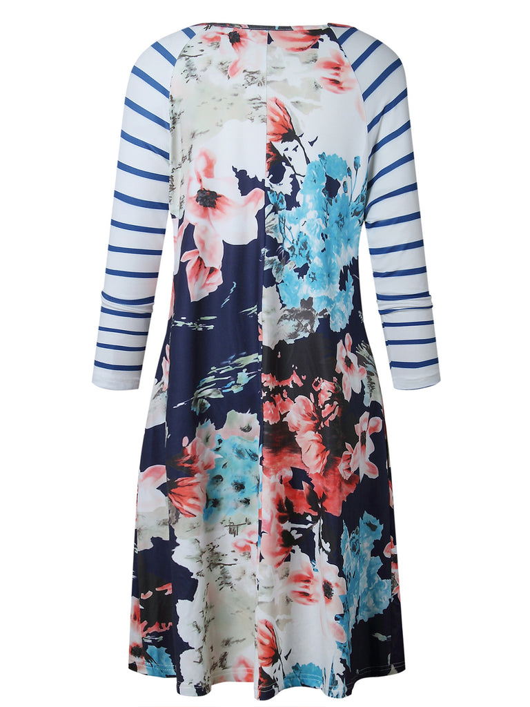 Women Floral Printed Long Sleeve Casual T Shirt Swing Dress