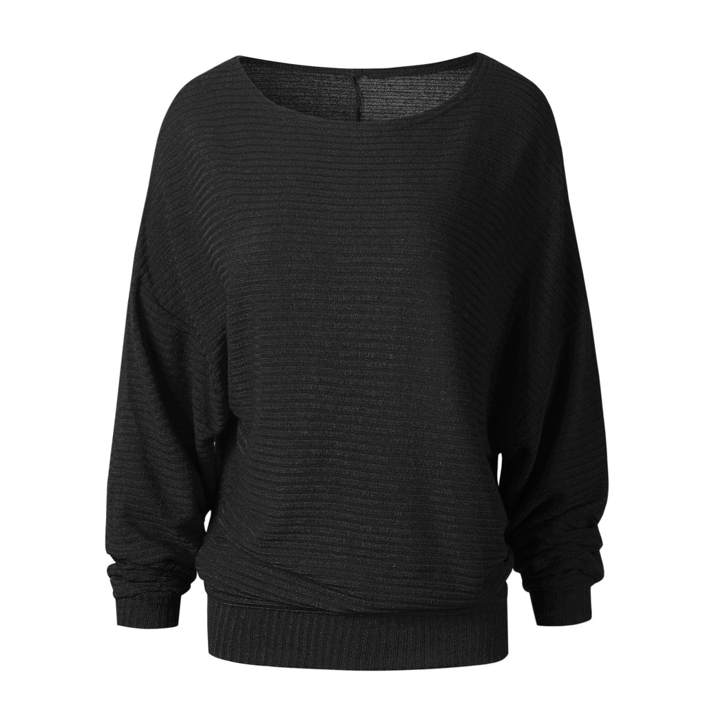 Hot Selling Bat Sleeve Knitted Sweatshirt Gray