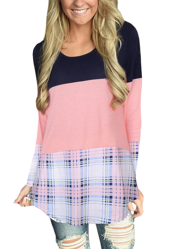Women's Casual Long Sleeve Plaid Tunic Tops Stitching Back Lace T-shirt
