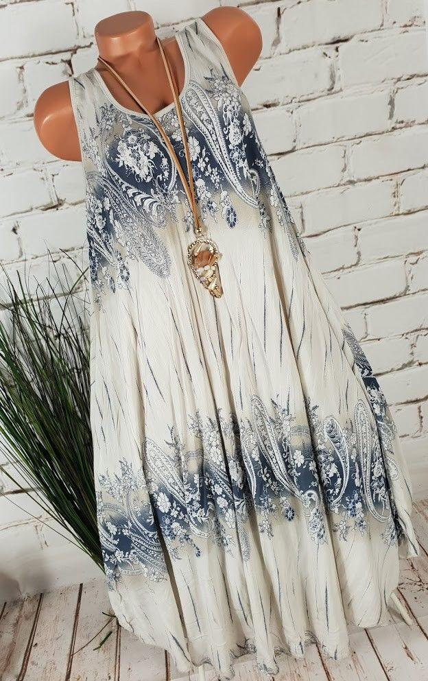 Women Sleeveless Printed Dress Oversize Floral Dress