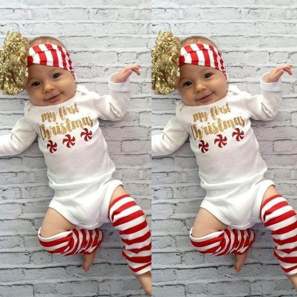 3pcs Newborn Kids Baby Girls Infant Romper Jumpsuit Bodysuit Clothes Outfits Set(Romper+Leggings+Headband)
