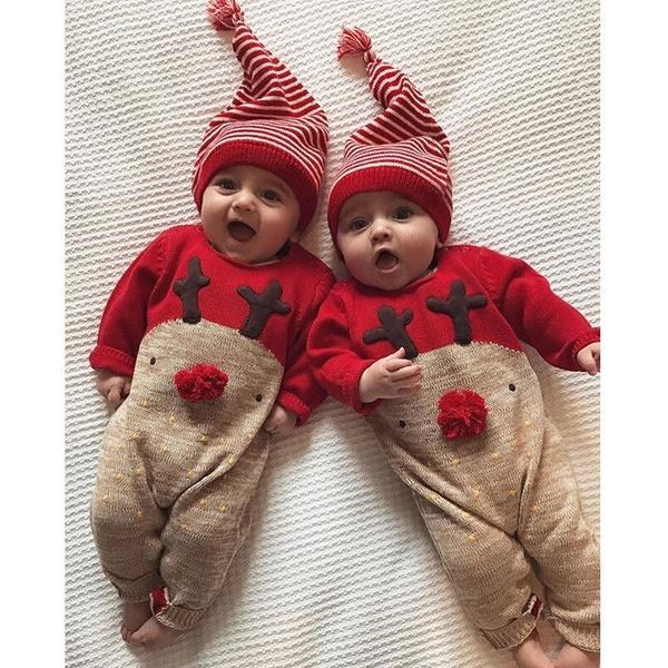 Newborn Baby Boy Girls Christmas Romper Bodysuit Jumpsuit Kids Outfit Set +Hat