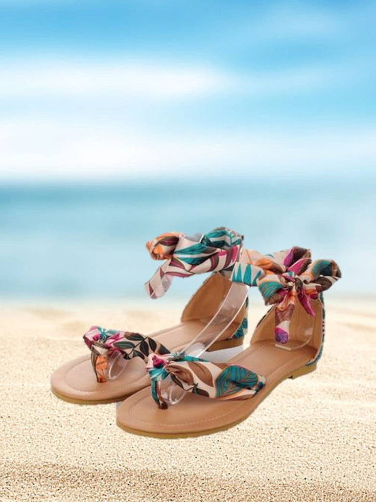 Women's Sandals Bohemian Lace Ribbon Flip Flop Flat Sandals Plus Size 34-43