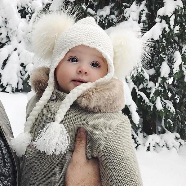 Winter Baby Boys and Girls Fashion Big Fur Collar Warm Jumpsuit Baby Hoody Knit Romper Jumpsuit Outwear Pants