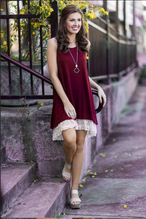 Cute Sleeveless O-neck Dresses with Lace S-XXL 6 Colors