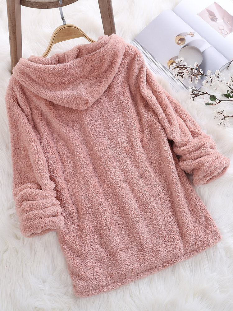 Women Long Sleeve V-neck Plus Size Loose Hoodie Sweater