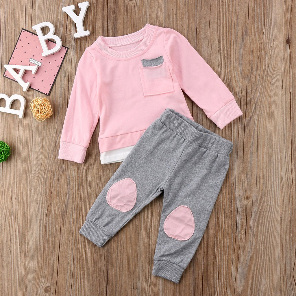 New autumn and winter infants and girls pure cotton color matching suit