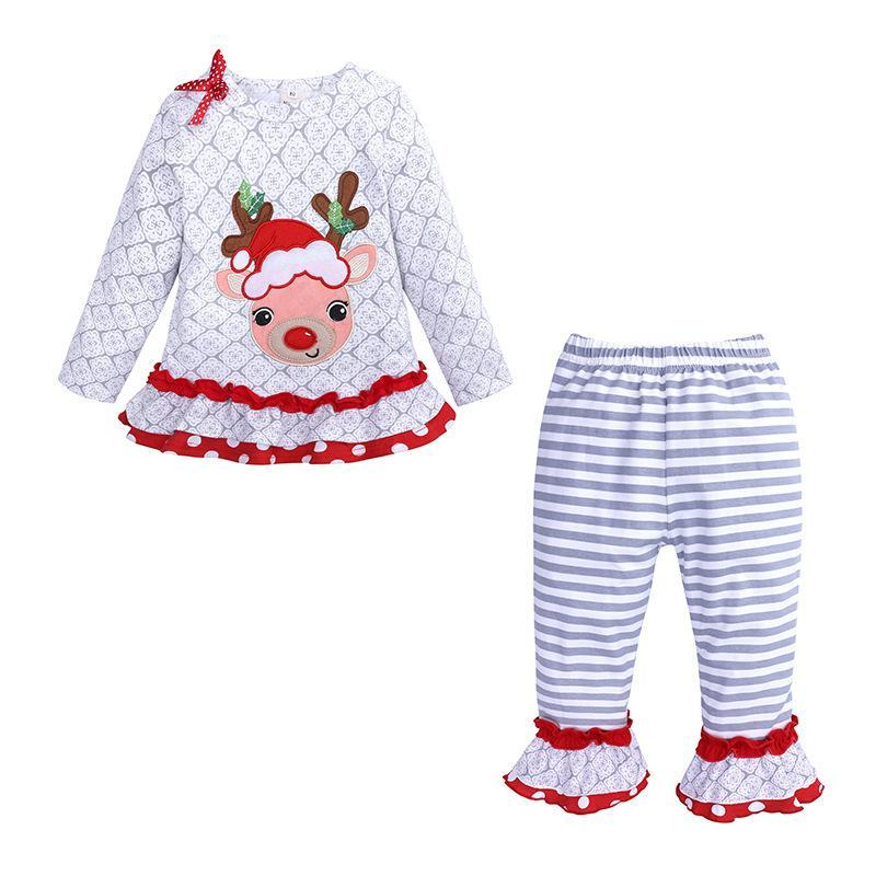 Girls long sleeved elk top + striped pantsuit for New Year's Christmas