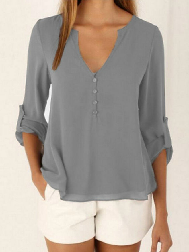 Long Sleeve V Collar Chiffon Short T-shirt Gray