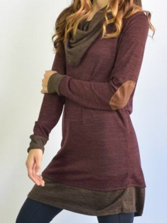 Women's Fashion Scoop Neck Loose Bat wing Sleeve Sweatshirt Sweater Wine Red S-5XL