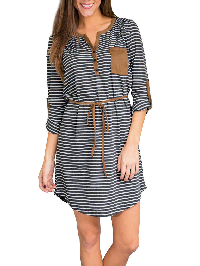 Women's V Neck Long Sleeve Stripe Tunic T-Shirt Dress