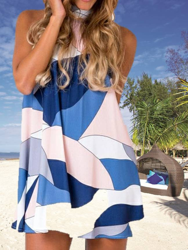 Women Summer Casual Halter Party Loose Printing Beach Dress Short Mini Dress