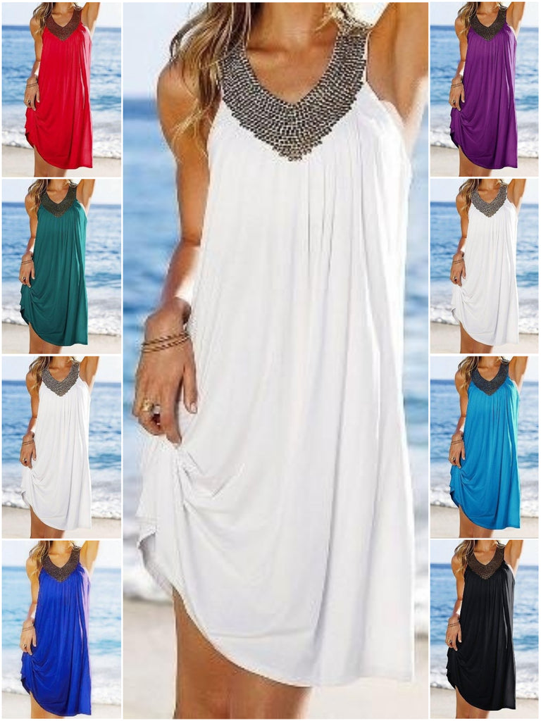 One Size V collar Hot diamond Fold Beach Dress White Dress