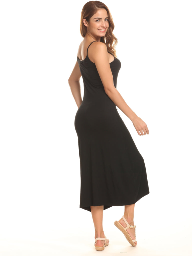 A-Shaped Sling Dress Black Maxi Dress