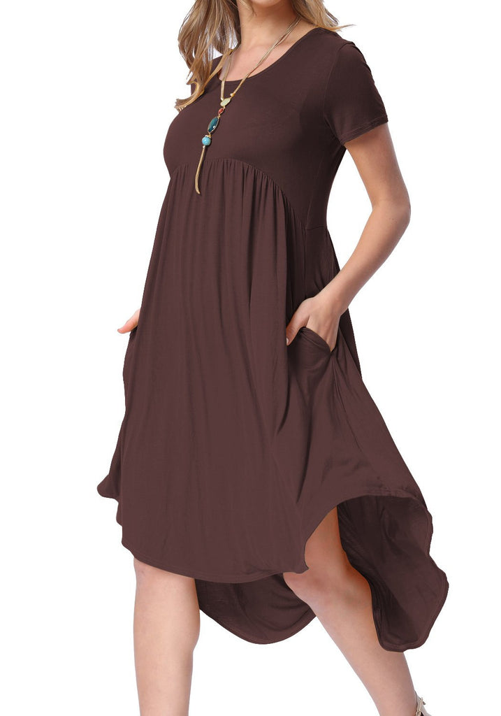 Womens Summer Short Sleeve High Low Pleated Swing Loose Casual Midi Dress Wine Red