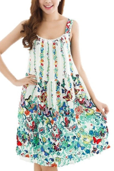 Women Summer Casual Evening Party Printing Beach Dress Short Dress M-XXXL