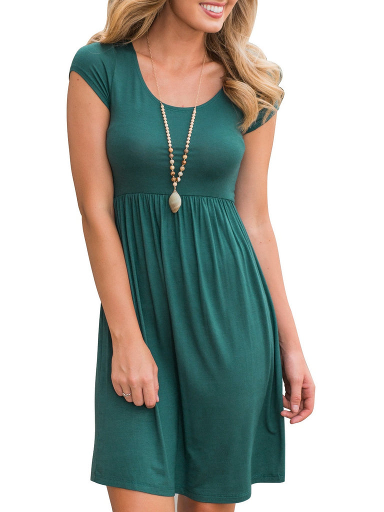Round Collar Short Sleeve Midi Dress Green Dress