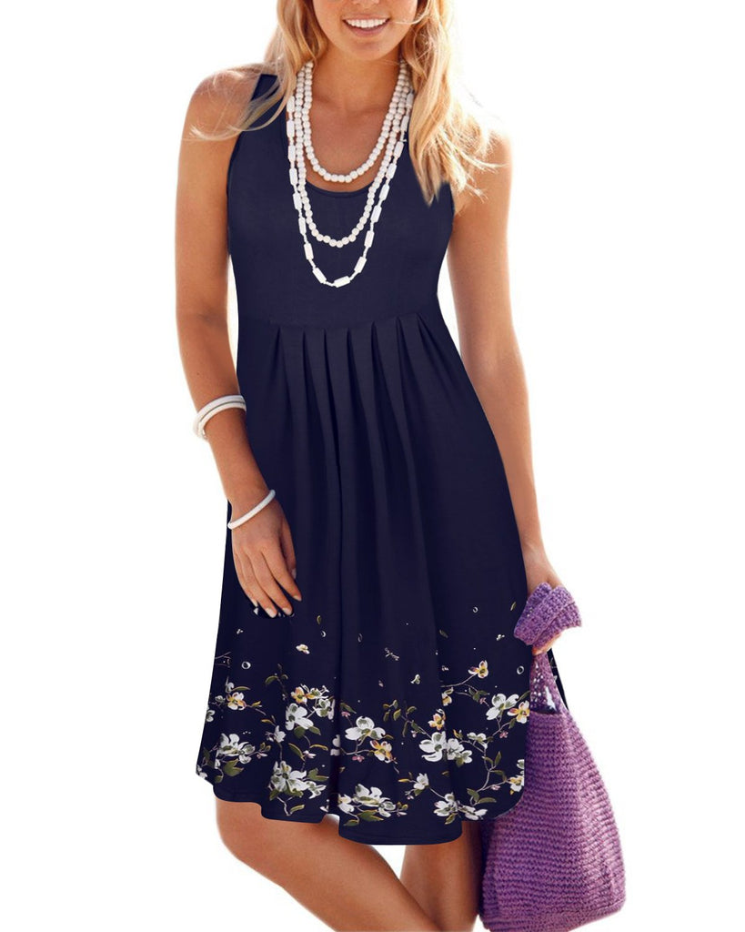 Ladies Chic Plus Size Sleeveless Summer Short Loose Dress