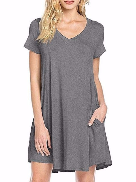 Women's Casual Simple Plain Side Summer Loose V-Neck T-shirt Dress with Pockets
