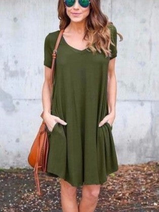 Summer Women Casual Chiffon Sleeveless Dresses  with Pockets Navy Green